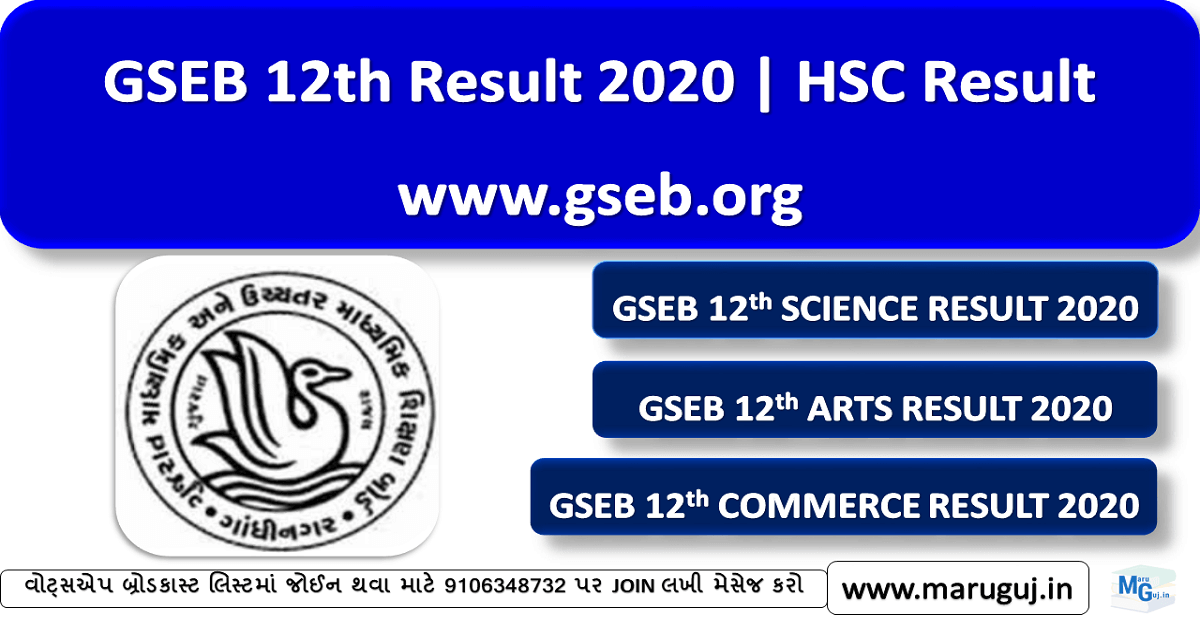 HSC Std 12th Result 2020, gseb.org, 12th arts, 12th commerce result 2020
