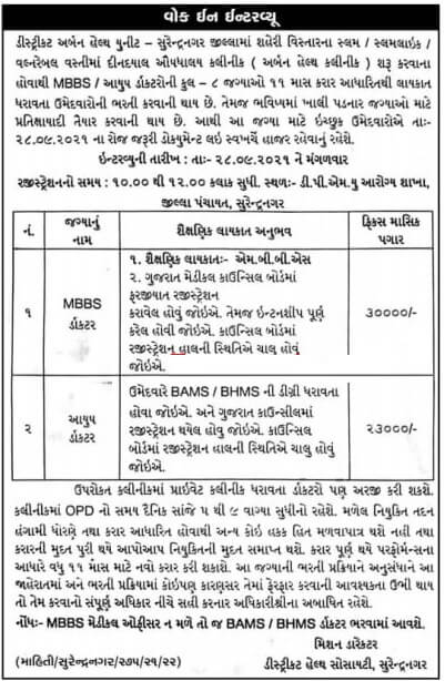 District Health Society DHS Surendranagar Recruitment 2021 Medical Officer Posts