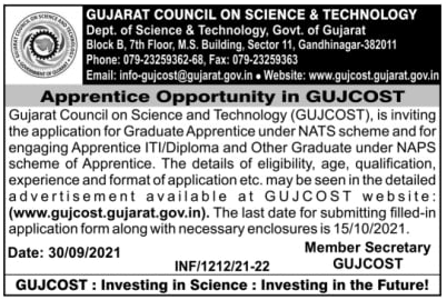 COPA, Electrician & Other Job - GUJCOST Recruitment 2021 advt